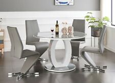GIOVANI Round Grey White Gloss Glass Dining Table Set and 4 6 Leather Chairs