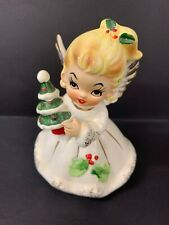 VINTAGE JOSEF ANGEL GIRL WITH CHRISTMAS TREE FIGURINE JAPAN