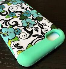 For iPhone 5C - HARD&SOFT RUBBER HYBRID ARMOR SKIN CASE MINT GREEN BLUE FLOWERS