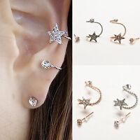 Pretty Sparkling Crystal Pentagram Ear Clip Trendy Ear Cuffs Stud Earings''
