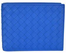 NEW Bottega Veneta Men's 148324 Blue Woven Leather Bifold Wallet W/Coin Pocket