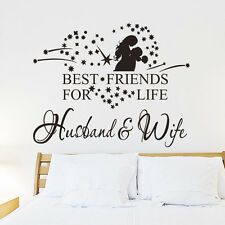 BEST FRIENDS FOR LIFE HUSBAND & WIFE Wall Art Decal Sticker Quote Removable