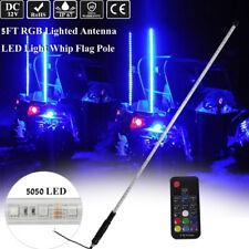 5Ft Rgb Led Lighted Antenna Light Whip Flag Pole Off road For Atv Rzr Utv Buggy