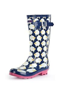 Thomas Cook Ladies Deloraine Gum Boot - Blue Pink  - Sizes 6 to 11