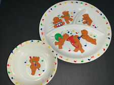 Vtg Kids Plate 3 section And Bowl Melamine Ware Anacapa 1987 Musical Teddy Bears