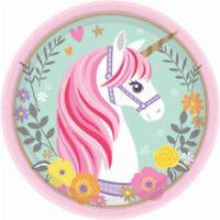 """MAGICAL UNICORN 18CM/7"""" SMALL PAPER PLATES PACK OF 8 BIRTHDAY PARTY SUPPLIES"""