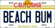 Beach Bum California State Background Metal Novelty License Plate