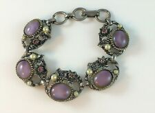 Vintage Faux Opal Rhinestone Filigree Ornate Bracelet Faux Pearls