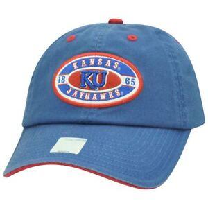 NCAA Kansas Jayhawks KU 1865 Garment Washed Slouch Relaxed Adjustable  Hat