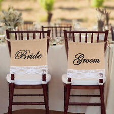 New Groom Bride Burlap Lace Chair Signs for Rustic Wedding Chair Decorations
