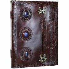 "3 Stone Leather Journal Handmade Notebook Diary Blank - 10"" X 13""- Blue"