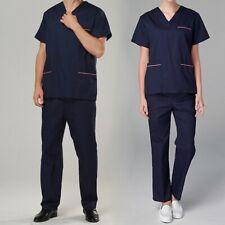 Men Women Scrubs Set V-Neck Uniform Hospital Medical Clothes Nurse Doctor Wear