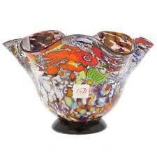 GlassOfVenice Murano Glass Millefiori Fazzoletto Bowl - Silver Amethyst