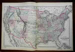 United States Post Civil War Dakota Territory Texas 1875 Walling & Tackabury map