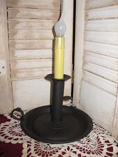 "8"" PRIMITIVE BLACK BROWN ELECTRIC CHAMBERSTICK CANDLE HOLDER w 6 watt BULB"