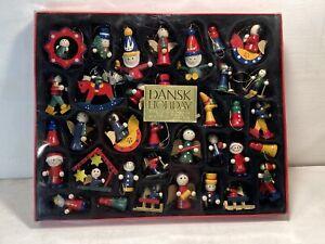 Dansk Holiday Mini Christmas Ornaments Lot of 36 Wooden Assort Figurines Vinat