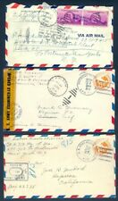 USA SEL OF 3 WWII MILITARY AIRMAIL w/CENSORS REDIRECTS OFFICIALLY SEALED