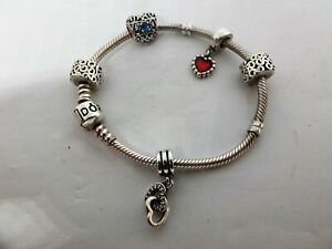 Pandora sterling silver bracelet with 5 charms/clips - CZ enamel filigree Hearts