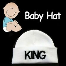 BABY BEANIE HAT ***KING*** SOFT COZY WHITE CAP HAT