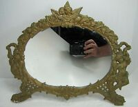 Antique ART NOUVEAU Mirror ornate cherubs angels flowers faces high relief dsgn
