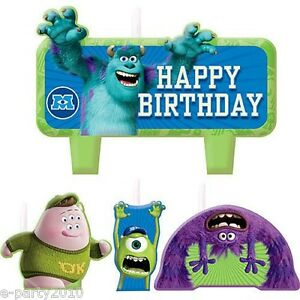 MONSTERS UNIVERSITY INC MINI CANDLE SET (4pc) ~ Birthday Party Supplies Cake