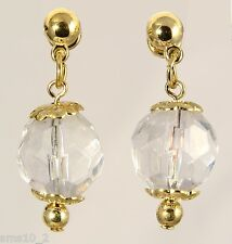 Gold Colour & Clear Faceted Ball Earrings CJE407