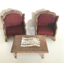 Sylvanian Families Vintage Furniture Red Velvet Ornate Armchair Chair Table Set