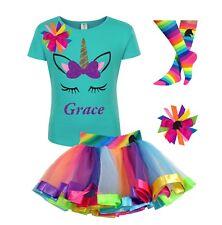 Bubblegum Divas Unicorn Shirt Rainbow Tutu Outfit Personalized 4pc Birthday Set