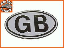 Metal White GB Badge Emblem Self Adhesive Classic, Kit Car, Hot Rod