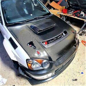RPG WRC Rally S7 Carbon Bonnet Open Hood Vent for 04 05 Subaru Impreza WRX STi