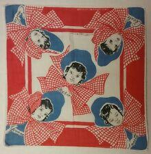 Dionne Quint Quintuplets 1930's Hanky Handkerchief Hankie Red White Blue Bonnet