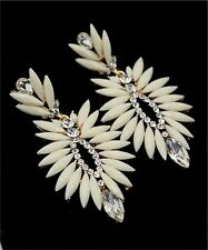Holiday/Wedding Fashion Large White & Crystal Drop Dangle Chandelier Earrings 2