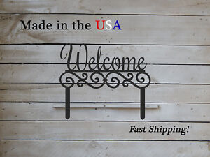 Welcome with Scrolls on Yard Stakes, Outdoor Decor, Rustic Yard Art  S1252