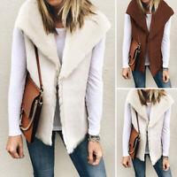 Mode Femme Veste en laine Gilet Sans Manche Revers Simple Loose Manteau Plus