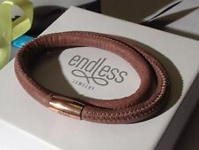 Endless Jewelry 38cm Brown Bracelet Double Strand Rose Clasp  rrp £50