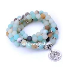 Women 8mm Amazonite beads with Life tree Charm 108 Frosted stone bracelet Z0145