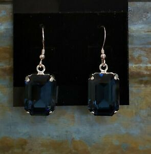 Swarovski Rectangle Crystals on Sterling Silver Wires by Shelia White - Navy