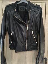 zara black leather jacket xs