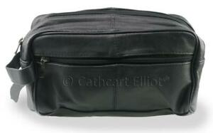 Premium Genuine Leather Washbag 2 Compartments and Side Pocket