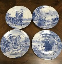 Set of 4 Collector Plates Limoges Romance France Hunting w/ hangers (1 repaired)