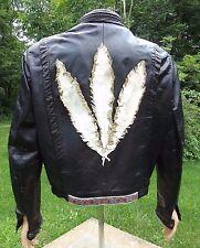 Vintage 1960's Mens Black Leather cafe racer Motorcycle Jacket CUSTOM feather M