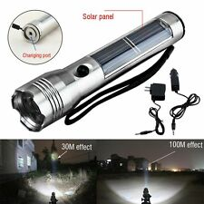 Rechargeable Solar Powered LED Flashlight Camping Torch Super Bright