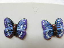 HANDCRAFTED & HANDPAINTED Ceramic Stud Earrings - BLUE BUTTERFLY - NEW