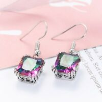 Vintage Rectangle Fire Rainbow Mystic Topaz Gems Silver Dangle Earrings