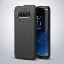 Funda TPU Gel para SAMSUNG Galaxy S8 S8+ Plus EFECTO CUERO rugged leather case