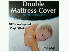 Double Fitted Mattress Cover Waterproof Protector Sheet VINYL Bed Wetting White