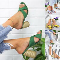 Women High Heeled Chunky Shoes Slippers Evening Party Nightclub Open Toe Sandals