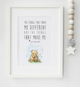 Winnie the Pooh Baby/Child Quote Nursery Print Picture Christening UNFRAMED