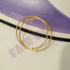 For Non Pierced Ears - Clip On Fake Big Large 60mm 6cm Gold Ear Hoops Earrings