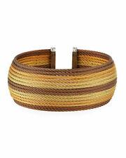 Alor Wide Multi-Row Yellow Bronze Cable Cuff Bracelet